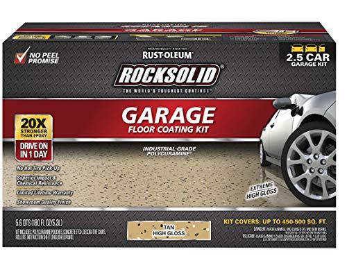 Rust-Oleum 293515 Rocksolid Polycuramine Garage Floor Coating, 2.5 Car Kit, Tan