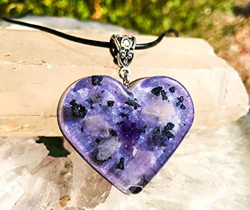 Shungite Orgonite Necklace Crystal Heart Pendant Amethyst Tanzanite Rose Quartz Black Tourmaline Healing Crystals for EMF Protection Violet Flame Orgone Generator