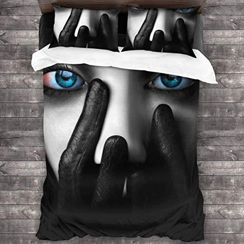 AIMILUX Funda Edredón,Estilo melancólico en Blanco y Negro,Chica de Ojos Azules,Ropa de Cama Funda Nórdica,1(220x240cm)+2(50x80cm)
