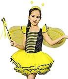 Kids Bumble Bee Dress Halloween Costume for Girls, Honeybee Fancy Dress Up Outfit, Fairy Ballerina Tutu Skirt Set 4Pcs