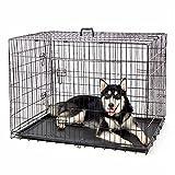 Ducomi Fort Cage pour Chien Intérieure et Extérieure-Grande Boîte de Chenil Pliante en Métal pour Chiens, Chats et Chiots -Cages de Transport de Voiture avec Plateau Lavable (Noir, 60x44x52 cm)