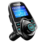 VicTsing Bluetooth FM Transmitter for Car, Wireless Bluetooth Car Adapter with Hand-Free Calling and 1.44' LCD Display, Music Player Support TF Card USB Flash Drive AUX-Black
