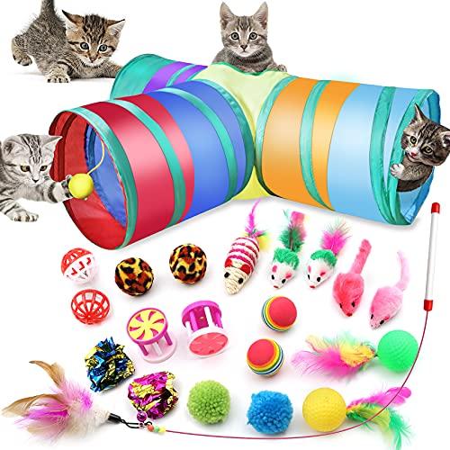 21 Pezzi Gioco Gatto da Interno Set, Giocattoli Interattivi Gioco per Gattino Kitten Indoor con tunnel curvo,topolini, topo in sisal, campanellini , campo da golf con piuma, bacchetta magica