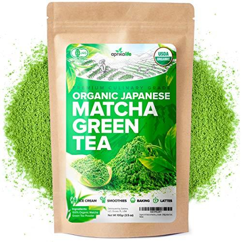 AprikaLife Organic Japanese Matcha Green Tea Powder – USDA & JAS Organic - Authentic Japanese Origin - Premium Culinary Grade - [100g Value Size]