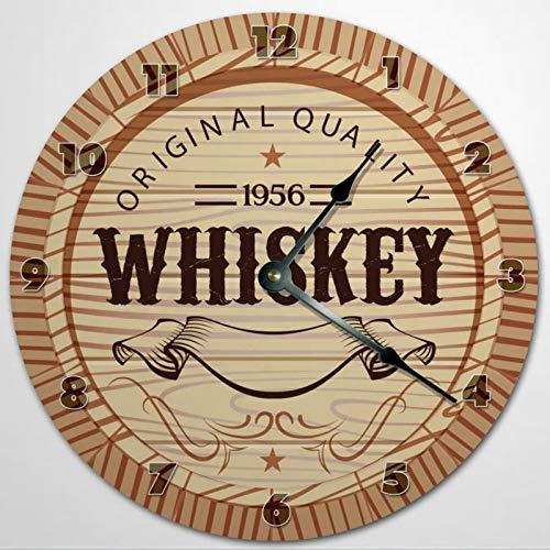 Reloj de pared de madera con diseño de whisky, silencioso, no hace garras, color marrón, funciona con pilas, redondo, fácil de leer en casa, oficina, escuela, reloj