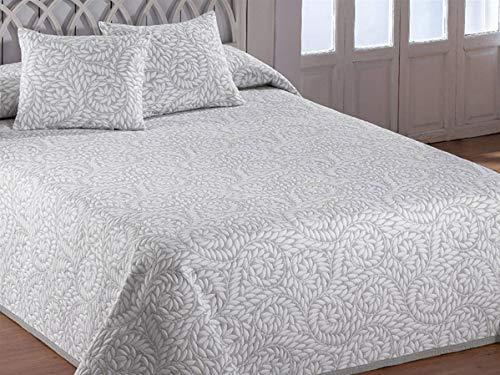 Barceló - Jacquard Tagesdecke Olimpia - Bett 90 cm - Farbe Weiß Cama 180 cm Perlgrau