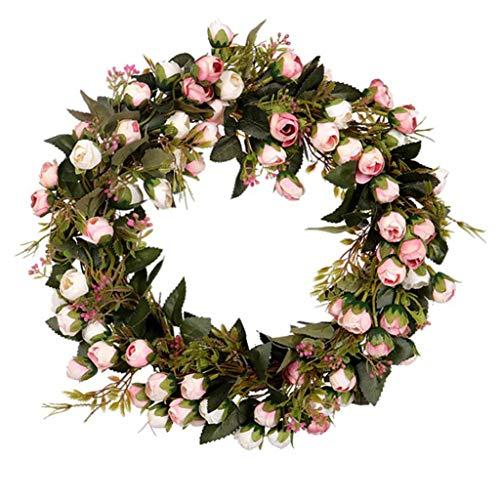 chiwanji Künstlicher Frühlingskranz Rose Türkranz Wandkranz Dekokranz 30cm - Kunst Kranz - Deko Kranz