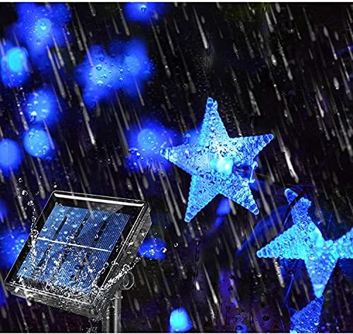 Cadena de luces solares para exteriores, 6,5 m, 30 luces LED para exteriores, funciona con energía solar, impermeables, con 8 modos de cadena de luces de Navidad para patio, césped (azul)