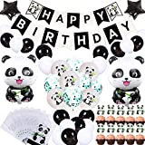 69Pcs Cute Panda Party Supplies for Girls Panda Happy Birthday Banner Panda Balloons Panda Cupcake Toppers Panda Goodie Bags for Kids Boys Girls Panda Theme Birthday Party Baby Shower Party Favor Decorations