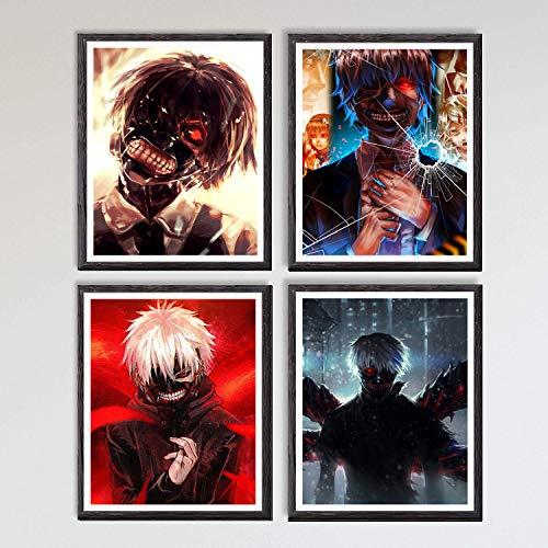 Poster a tema manga e anime con stampa artistica su tela di Naruto Shippuden, Goblin Slayer, Hunter x Hunter, Tokyo Ghoul, One Punch Man, decorazione da parete, 20,3 x 25,4 cm, senza cornice, set di 4