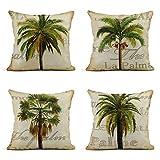 Tarolo Set of 4 La Palma La Palma Palm Tree Trees Tropical World Green Beige Warm Thin Palms Miami Florida Decorative Linen Throw Pillow Covers Case Cushion 16' X 16' Square Pillowcases One Sided