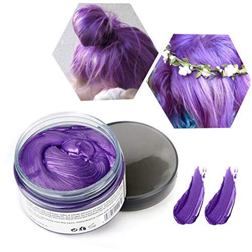 Cera de Color Para el Cabello, Tinte de Cabello Temporal Mujer y Hombre, Cera Pelo DIY, Fórmula Planta Lavable Cera de Peinado Natural Mate 4.23 OZ - púrpura