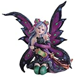 StealStreet SS-G-91408 Purple Fairy Kneeling with Black Cat Collectible Figurine Decoration