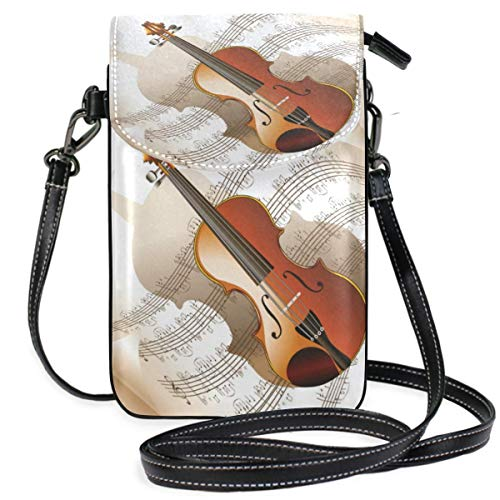 Lawenp Violin Music Art Small Leather Crossbody Bag RFID Blocking Wallet Purse Phone Bags for Travel Girls Women