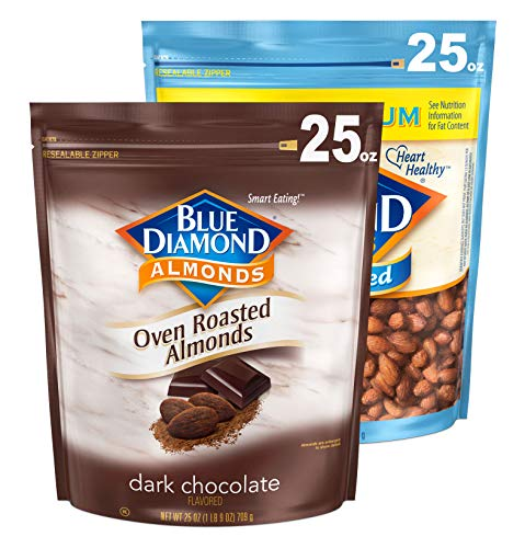 Blue Diamond Almonds Sweet and Savory Bundle Cocoa Dusted Almonds and Lightly Salted 2  25oz Bags
