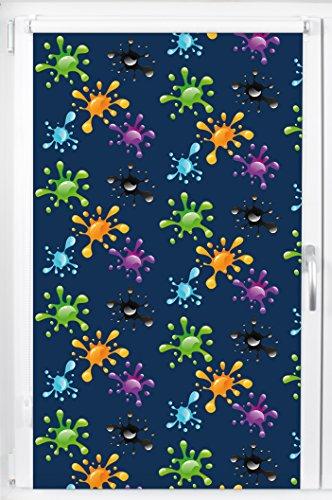 pixxfish Verdunklungsrollo Mini - Maßanfertigung - 17 mm Welle - Motiv: Farbkleckse - Farbe: blau - Breite bis 110 cm, Höhe bis 150 cm - Klemmfix-Rollo - Kinderrollo - Fotodruck - OHNE Bohren
