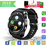 Larspace Smartwatch, Impermeable Reloj Inteligente Redondo con Sim Tarjeta Camara Whatsapp (Negro)