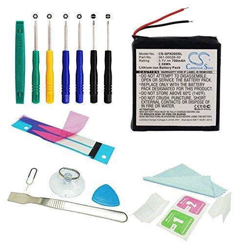 CS GPS Akku,Li-ion 700 mAh passend für Garmin Forerunner 205, Forerunner 305, Forerunner 305i, ersetzt Garmin 361-00026-00 Mit Werkzeugsatz