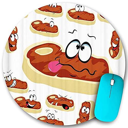 Alfombrilla de ratón redonda, dibujos animados de filete de ternera, bonito divertido, alfombrillas de goma antideslizantes para el hogar, para la oficina, pequeñas, 7,9 x 7,9 pulgadas, ratón para jue