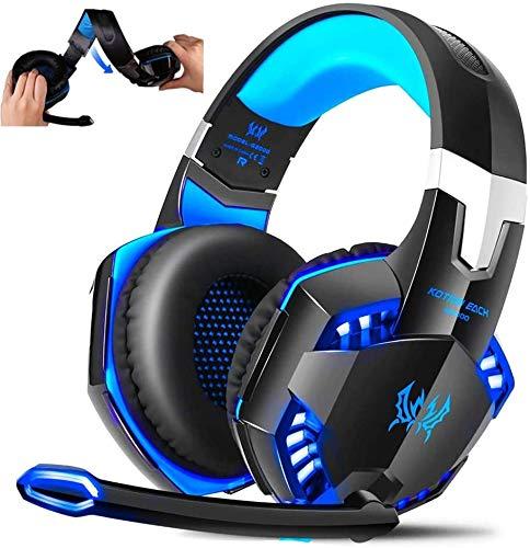 Cheekbonny Auriculares Gaming para PC PS4 Xbox One, G2000 Cascos Gaming con Sonido Envolvente y Reducción de Ruido, La Disfruta Sonido Nítido