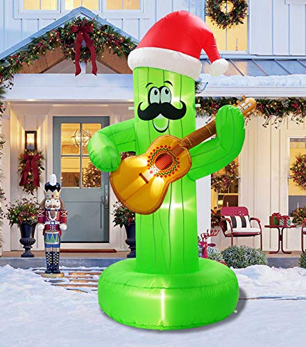7 Ft Christmas Inflatable Cactus Decoration Mexican Party Cactus Play the Guitar Decorations For Home Yard Lawn Outdoor Indoor Night