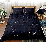 PTBDWOSZ® Juego De Funda Nórdica Impresa En 3D Constelación Estrellada Negra Simple Ropa De Cama Edredón con Cierre De Cremallera para Adolescentes Y Adultos Ropa De Cama De Microfibra Ultra Suave 13