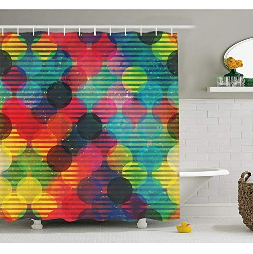 YUUWO Geometrische ronde douchegordijn Psychedelische digitale decoratieve stof badkamerdecoratie