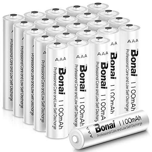 BONAI Akku AAA 1100mAh Wiederaufladbare Batterien hohe Kapazität 1,2V AAA NI-MH Aufladbare Akkubatterien geringe Selbstentladung (24 Stück)