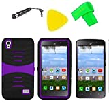 Hybrid Phone Cover Case + Screen Protector + Extreme Band + Stylus Pen + Pry Tool For Straight Talk Tracfone NET10 Huawei Pronto LTE H891L / Ascend SnapTo G620-A2 LTE (S-Hybrid Black Purple)