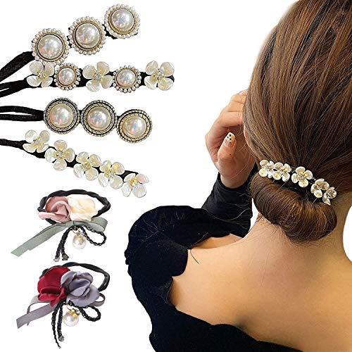 6 Stück Perle Blumen Dutt Maker Damen Haardutt Donut Hair Bun Maker Haarnadel elegant Haargummi Faux Perlen Vintage Haarschmuck Anti-Rutsch Lazy magische Haarnadeln für...