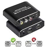 HDMI to RCA変換コンバータ 1080P HDMI to AV 3RCA CVBs コンポジット 電源供給 USB ケーブル付き ビデオ3.5 mm Auxオーディオアダプタ TVスティック、PS3、PC、ラップトップ、Xbox、HDTV、DVD、PAL/NTSC サポート