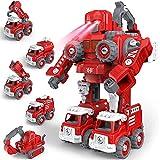 Auto Spielzeug, GizmoVine DIY 5 in 1 Feuerwehrauto Mit Lichtern und Tönen, Roboter Baukasten Konstruktions Spielzeug für 5 6 7 8 Jahren Jungen