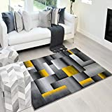 Handcraft Rugs Abstract Geometric Modern Squares Pattern Yellow/Orange/Silver/Grey Area Rug (8 X10, Yellow)