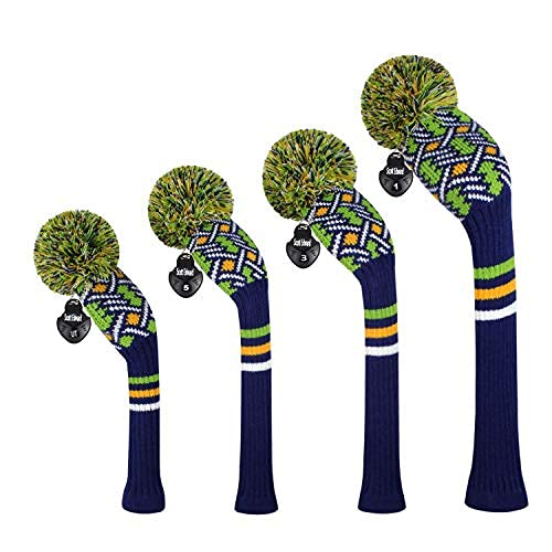 Scott Edward Personalized Knit Golf Club Covers 4 Counts for Woods and Driver Fit Max Drivers Fairways Hybrids/Utility Big Pom Pom Customized Patterns Decorate Golf Bags (Blue Green)