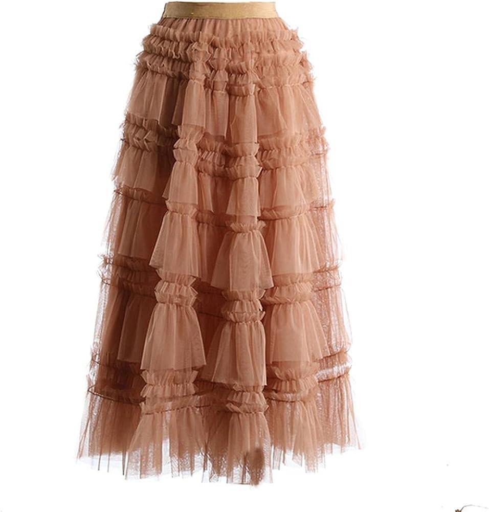 Ruffles Mesh Cake Pleated Big Hem Brown Color High Waist Half-Body Skirt Women Tide Spring Autumn
