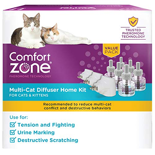 Comfort Zone MultiCat Calming Diffuser Kit, Cat Pheromone Spray, 3 Diffusers and...
