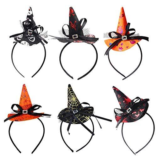 BESTYY Diademas de Halloween,BESTZY 6 Piezas Sombrero de Bru