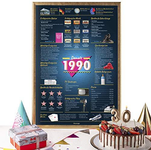 Das Original Damals 1990 Poster Deutschland (40x59.4cm Ungerahmt) Elegante Posterröhre 30. Geburtstag Geschenk 30-Jähriges Jubiläum Deko für Mann Frau Mama Papa Pärchen Männer (Damals 1990 – 30 Jahre)