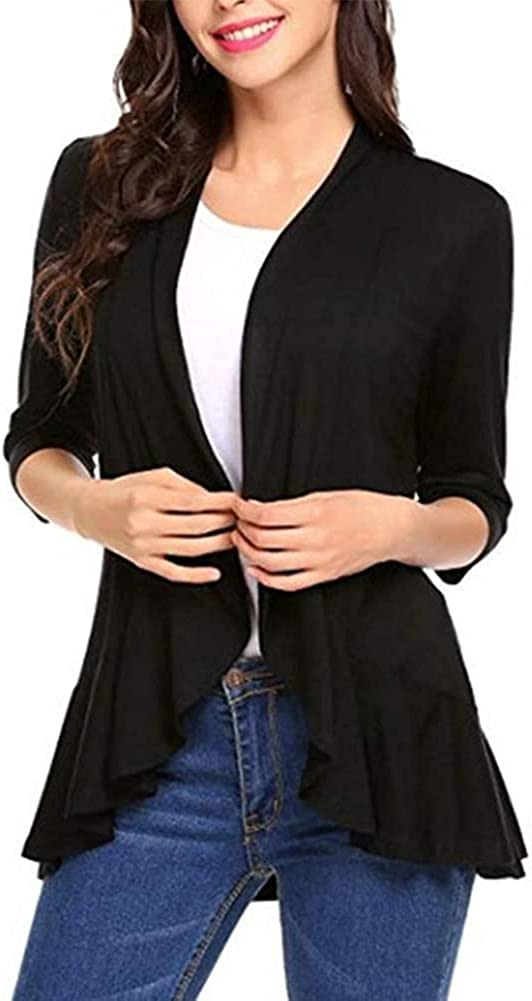 Beisinuo Women's Casual Solid Color Cardigan Cardigan with Ruffled Hem 3/4 Sleeve Cardigan