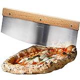 Taglierina professionale per tagliare la pizza, coltello per pizza Taglierina per erbe deluxe Taglierina con manico in legno e lama in acciaio inossidabile da 35 cm estremamente affilata