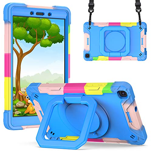 A9H Case for Galaxy Tab A 8.0 Inch 2019 SM-T290/SM-T295 Case with Adjustable Shoulder Strap, Durable Protective Case with 360 Degree Rotating Stand & Stylus Pen Holder (Colourful Blue)