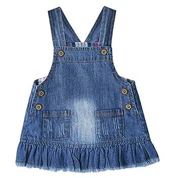 ZL MAGIC Toddler Baby Girls Suspender Strap Skirt Denim Overall Dresses Casual Jumper Dress