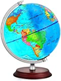 TTKTK Illuminated World Globe Rewritable with Wooden Stand,Built in LED for Illuminated Night