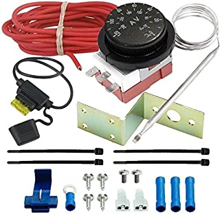 American Volt Adjustable Electric Radiator Fan Thermostat Switch Coolant Water Temperature Probe Controller Kit