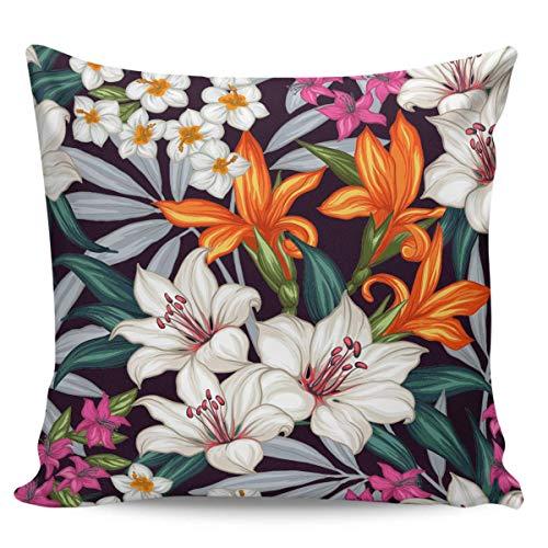 W-wishes Fundas de Fundas de Almohada, cojín de Flores Tropicales Coloridas para decoración del hogar, 45 x 45 cm