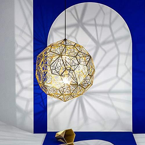 SUNSHIN Edelstahl Gitter Design Diamond Ball Pendelleuchte, Durchmesser 50cm Geometric Ball Kronleuchter E27 Deckenbeleuchtung,Golden