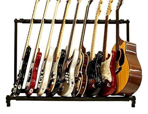 Glarry 9 Triple Folding Multiple Guitar Rack Storage Organizer Stand Holder for Electric Acoustic Bass, Black