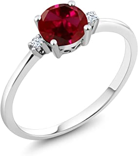 10K White Gold Engagement Solitaire Ring set with 1.03 Ct Round Red Created Ruby and White Created Sapphires