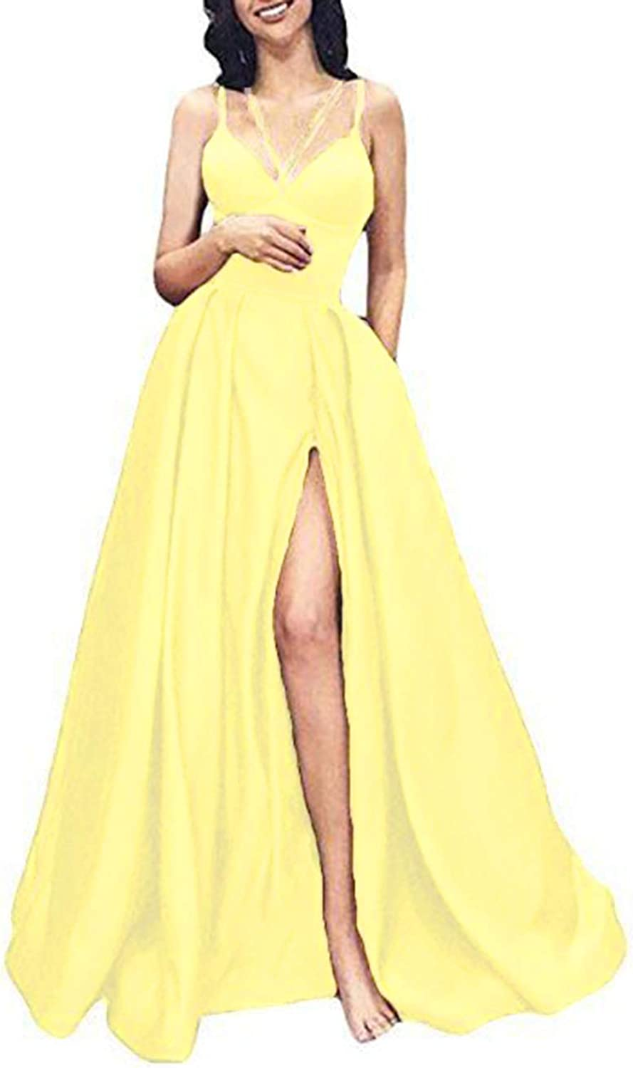 Alilith.Z Sexy Spaghetti Strap Satin Prom Dresses 2019 Long Slit Evening Dresses Formal Party Gowns for Women with Pockets