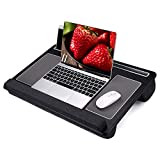 Lap Desk - Laptop Bed Laptop Desk with Mouse & Wrist Pad for Notebook, MacBook, Tablet, Bed, Sofa, Working, Writing, Gaming, Drawing(Carbon Black 26.50 inch Fit Up to 17 inch laptops)